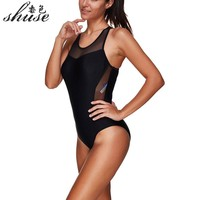 Black Sport Swimsuits One Piece Swimming Suits Zip High Neck Swimwear Women Mesh Swim Suits Bodysuits Sexy 2017 New