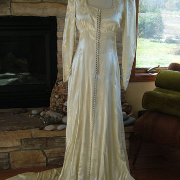 Wedding dress vintage slipper satin Camelot 1940s 1930s wedding gown buttons renaissance dress