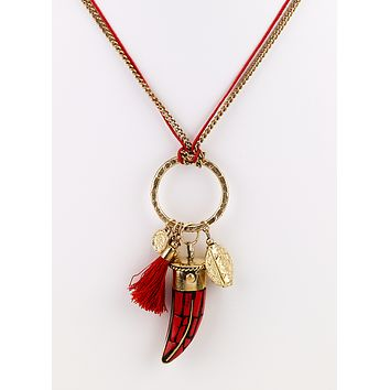 Horn Chip and Charms Long Necklace - Red
