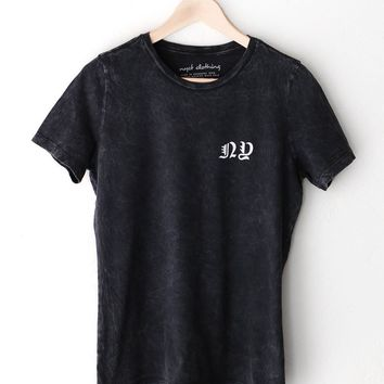 NY Relaxed Tee - Acid Wash Black
