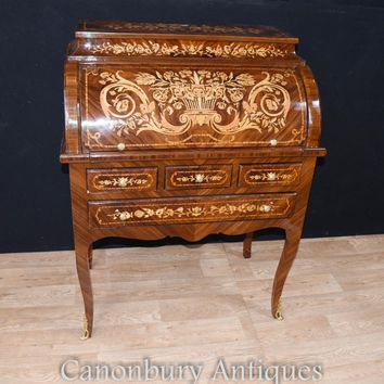 Canonbury - French Louis XV Roll Top Desk Bureau Writing Table Inlay Furniture