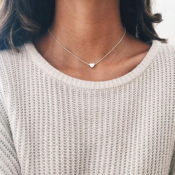 New Tiny Heart Necklace for Women SHORT Chain Heart Shape Pendant Necklace Gift Ethnic Bohemian Choker Necklace drop shipping