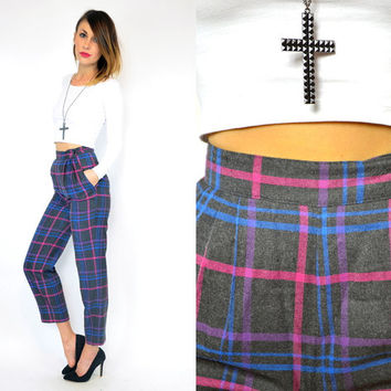 vintage 1980s plaid HIGH WAISTED cropped pleated gathered TROUSERS pants, extra small
