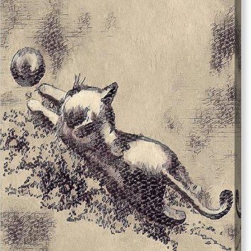 Kitten Playing With Ball - Canvas Print