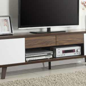 Coaster Fine Furniture Tv Console Dark Walnut/Glossy White 700793