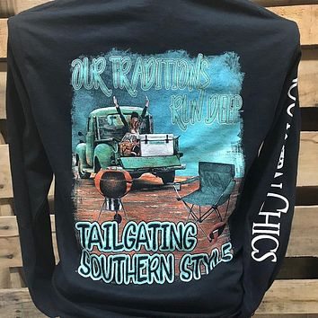 Southern Chics Tailgating Southern Style Truck Long Sleeve Girlie Bright T Shirt