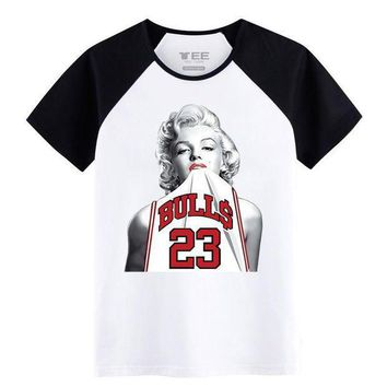 ICIKHD9 Fashion T-Shirts for teenagers 100% Cotton Innvoation pattern Marilyn Monroe Jordan 23