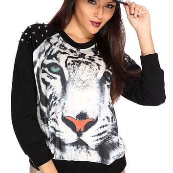 Black Animal Print Spike Studded Shoulder Sweater
