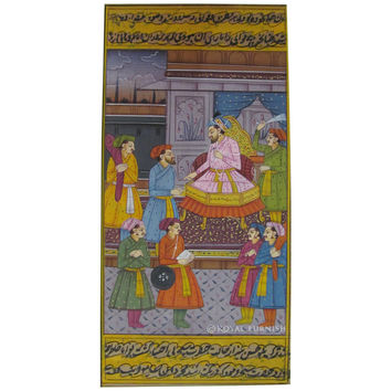 Rajasthani Folk Mughal Court Scene Miniature Painting on Paper