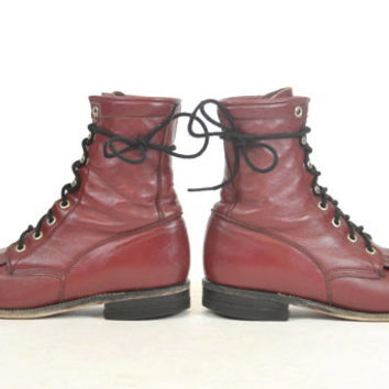 lace up JUSTIN distressed burgundy LEATHER roper granny ankle BOOTS size 6 36