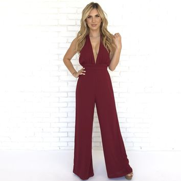 Hold Me Down Jumpsuit in Wine