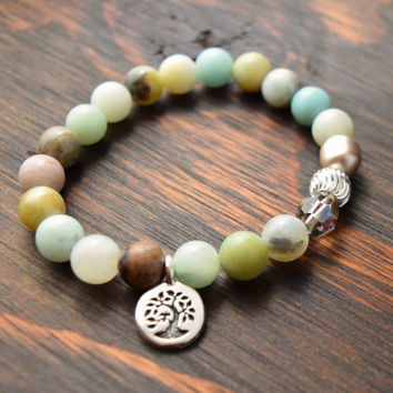Amazonite Bracelet. Tree of Life Bracelet. Women's Yoga Bracelet. Women's Beaded Bracelet. Lotus and Lava Bracelet. Amazonite Jewelry.