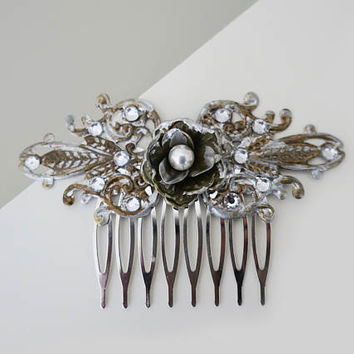 Bridal Hair Comb Vintage Flower Hair Comb Swarovski Pearl Antique Gold Silver Crystal Bridesmaid Hair Comb Wedding Head piece  Romantic Leaf