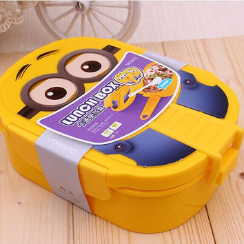 Despicable Me Minion cute Bento Lunch Box send Spoon and fork Food Fruit Storage Container Portable Bento Box for Children Gifts