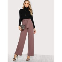 Brown High Waist Plain Wide Leg Long Pant