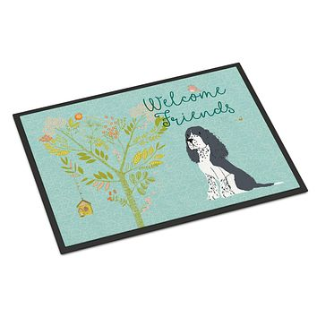 Welcome Friends Black Springer Spaniel Indoor or Outdoor Mat 24x36 BB7621JMAT