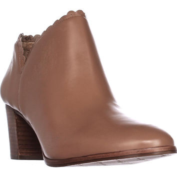 Jack Rogers Marianne Scalloped Low Rise Booties, Cognac, 8 US