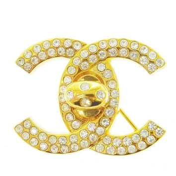 Chanel Gold Rhinestone Logo Turnlock Evening Pin Brooch in Box