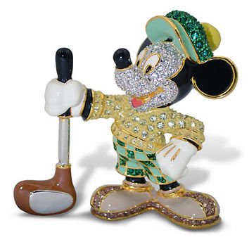 Disney Parks Mickey Mouse Golfer Jeweled Figurine by Arribas Brothers New with Box