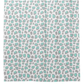 Aqua Blue Gray Grey Leopard Animal Print Pattern Shower Curtain