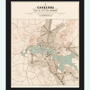 Vintage Map of Canberra City , Australia Oceania 1918