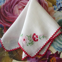 Vintage 1950s Red Floral Collectible Hankie Red Floral Hankerchief Crochet Edging Embroidered Hankies Vintage Accessories V1020