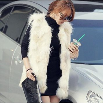 2018 Xulanbaby Winter Coat Women Faux Fur Coats Fox Fur Vest Plus Size Elegant Fur Coat Furry Elegant Hit Color Overcoat  AW145