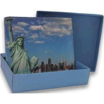 Handcrafted Statue of Liberty Bifold Leather Wallet