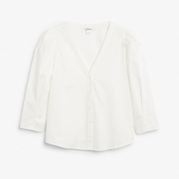 V-neck blouse - Whipped white - Tops - Monki GB