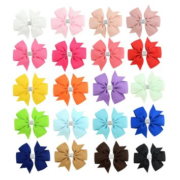 "20 Pcs/Lot Grosgrain 3"" Alligator Solid Hair Bow Clips for Baby Girl Toddlers Kids Infant Children Handmade Barrettes Hair Accessories"