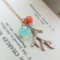 Turquoise and coral necklace, Coral branch necklace, coral jewelry, aqua and orange jewelry, beach wedding, beach theme