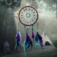 Enchanted Forest Dreamcatcher Gift Handmade Purple Turquoise Feather Wall Hanging Decoration Ornament