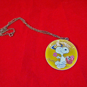 Vintage 1970s Snoopy Necklace Peanuts Gang Charles Schultz Happiness is Necklace Aviva