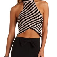 RACER FRONT MOCK NECK ASYMMETRICAL CROP TOP