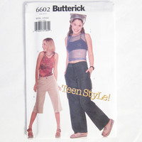 Butterick Pattern 6602 2000s Teen Fashion Clothing Pattern Pants, Capris, and Tank Tops