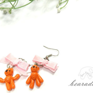 orange miniature bear cluster earrings , polymer clay earrings , bear earrings , pink bow