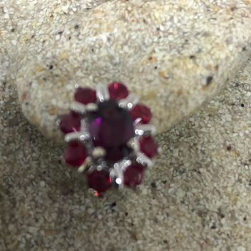 Vintage Handmade Sterling Silver genuine tourmaline and ruby stud earrings