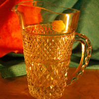 Vintage Kristaluxus Lead Crystal Hobnail Pitcher Made in Monterrey Mexico