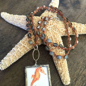 Knotted Crochet Necklace, Seahorse - Starfish, Beach Bum, Soldered Pendant, Beaded Boho Jewelry by Two Silver Sisters twosilversisters