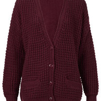 Knitted Textured Stitch Cardi - Knitwear  - Clothing