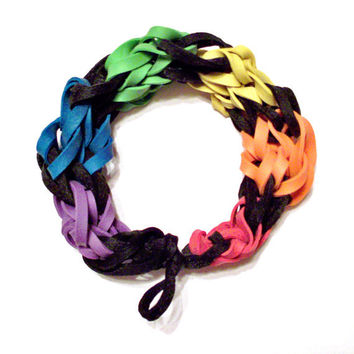 Rainbow Bracelet - Stretch Bracelet Made with Red, Orange, Yellow, Green, Blue, Purple, and Black Rubber Bands