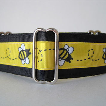 "1.5"" Martingale Collars, Bumble Bee Martingale Collar, Bumble Bee Dog Collar, Yellow and Black Dog Collar, Sighthound Collar, Greyhound"