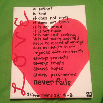 Bible Verse Canvas Painting-1 Corinthians 13:4-8