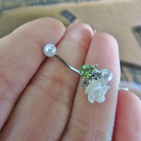 16 Gauge Bouquet Rook Jewelry Piercing Green White Rose Pearl Crystal Gem Cluster Earring Ear Ring Barbell 16g G Ga Eyebrow Bar