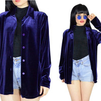 vintage 90s BLUE velvet shirt ultra draped velour button up top soft grunge duster jacket minimalist oversized blouse medium