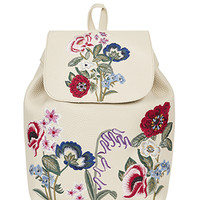 Accessorize   Poppy Embroidered Backpack   Cream   One Size