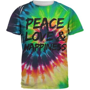 ONETOW Peace Love & Happiness Tie Dye All Over Adult T-Shirt