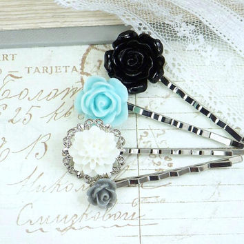 Victorian Hair Pins Blue and Black Flower Bobby Pin Bobby Pin Set Floral Hair Pin Bridal Hair Pin