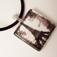Black and White Vintage Eiffel Tower pendant - Glass Tile Pendant
