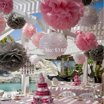 2016 Popular Decor Supplies 10 pcs   6'(15cm) wedding paper pom poms tissue  flower pompoms  for Christmas Decor